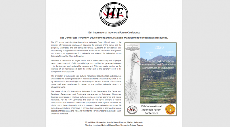 Universitas Katolik Santo Thomas menjadi Virtual Host Konferensi International Indonesia Forum ke-13
