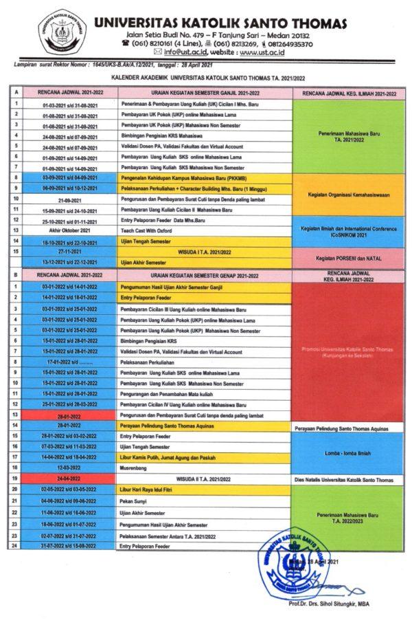 Kalender Akademik UNIKA Santo Thomas